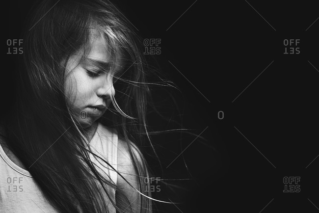 Black and white portrait of a sad girl