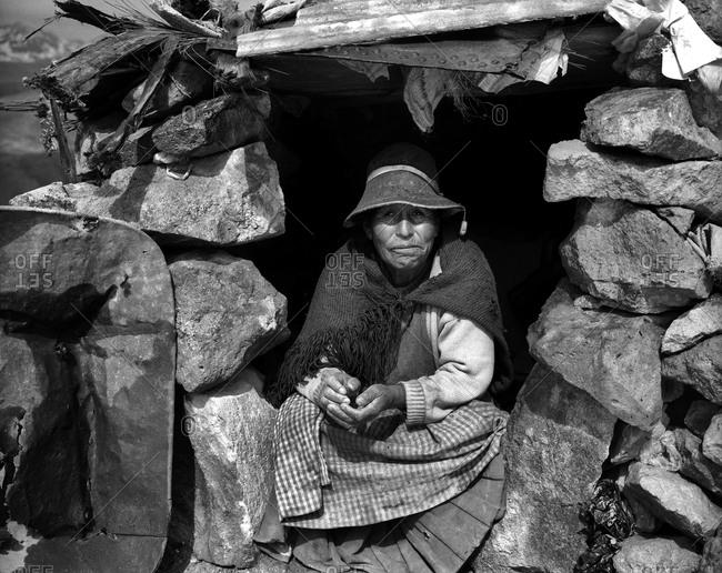 Potosi, Bolivia - September 16, 2011: Portrait of a miners gate keeper at Cerro Rico in Potosi, Bolivia