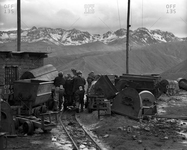 Miners working at Cerro Rico in Potosi, Bolivia