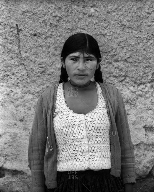 Potosi, Bolivia - September 16, 2011: Portrait of a girl in Potosi, Bolivia