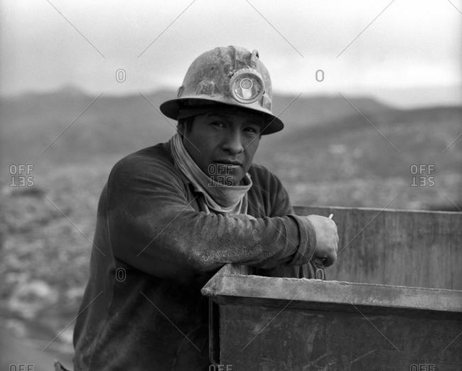 Potosi, Bolivia - September 16, 2011: Miners working at Cerro Rico in Potosi, Bolivia