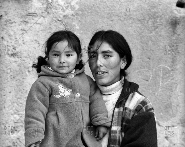 Potosi, Bolivia - September 16, 2011: Portrait of a mother and daughter in Potosi, Bolivia