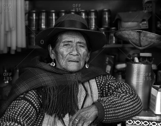 Potosi, Bolivia - September 16, 2011: Portrait of a woman in Potosi, Bolivia