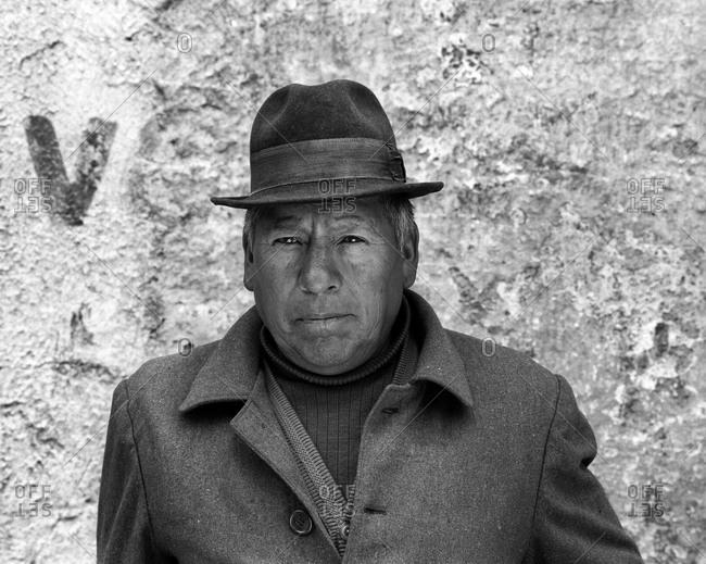 Potosi, Bolivia - September 17, 2011: Portrait of a man in Potosi, Bolivia