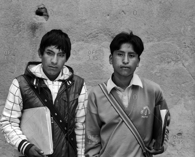 Potosi, Bolivia - September 17, 2011: Portrait of two boys in Potosi, Bolivia