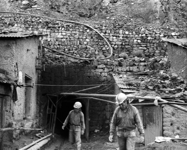 Potosi, Bolivia - September 17, 2011: Miners working at Cerro Rico in Potosi, Bolivia