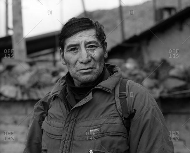 Potosi, Bolivia - September 17, 2011: Portrait of a miner in Potosi, Bolivia