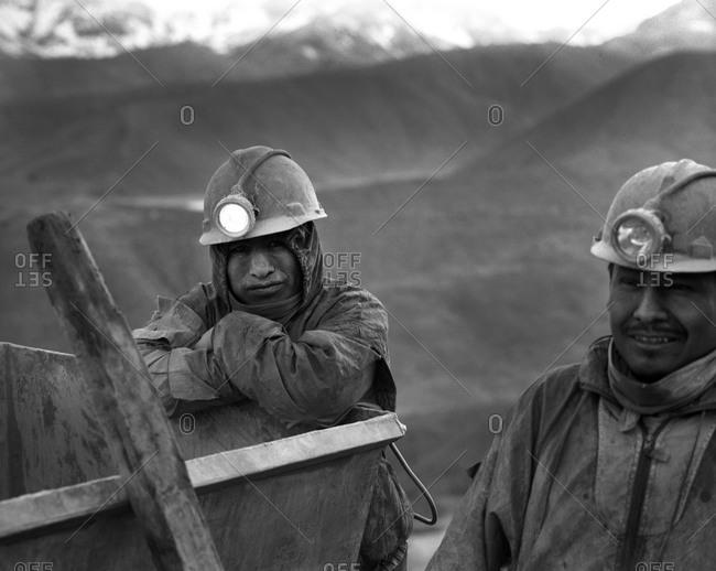 Potosi, Bolivia - September 17, 2011: Portrait of miners in Potosi, Bolivia