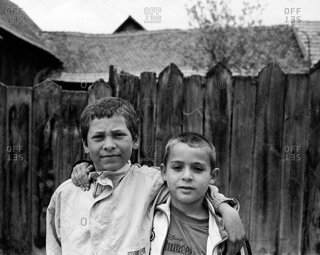 Romania - November 14, 2008: Portrait of two boys in the town of Rupea, Transylvania, Romania