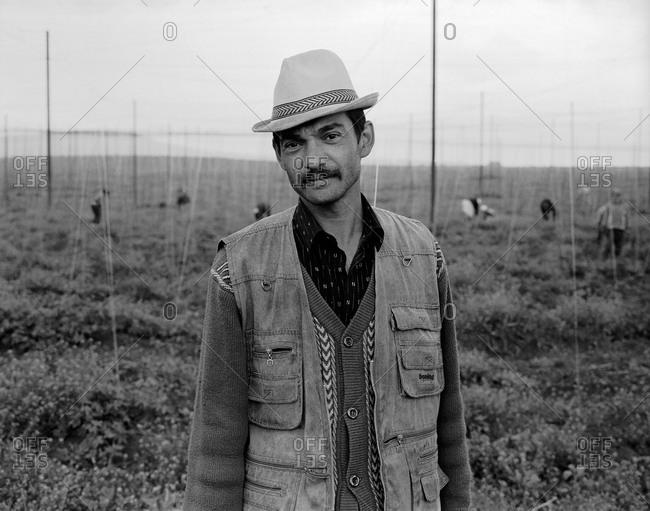 Romania - November 14, 2008: Portrait of a farmhand in a field in southern Transylvania, Romania