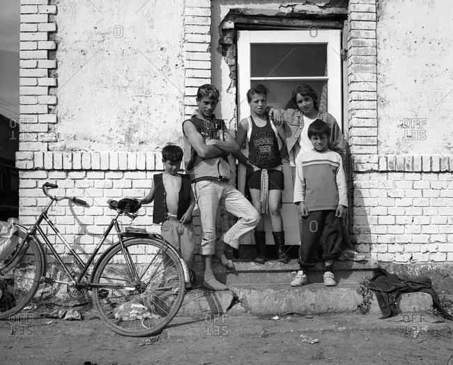 Romania - December 8, 2011: Portrait of a young family in Transylvania, Romania