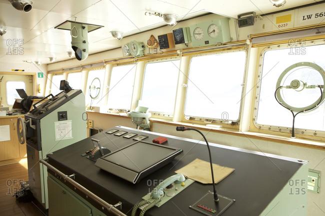 Ushuaia, Tierra del Fuego, Argentina - February 16, 2016: Fishing vessel cockpit