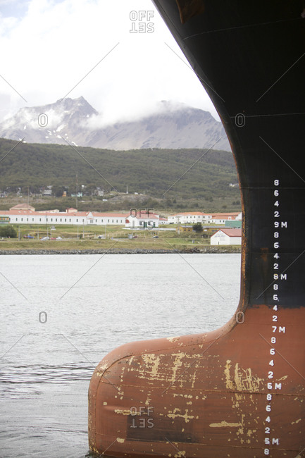Ushuaia, Tierra del Fuego, Argentina - February 16, 2016: Numbers indicating water depth on a cargo vessel docked at a port in Ushuaia, Tierra del Fuego, Argentina