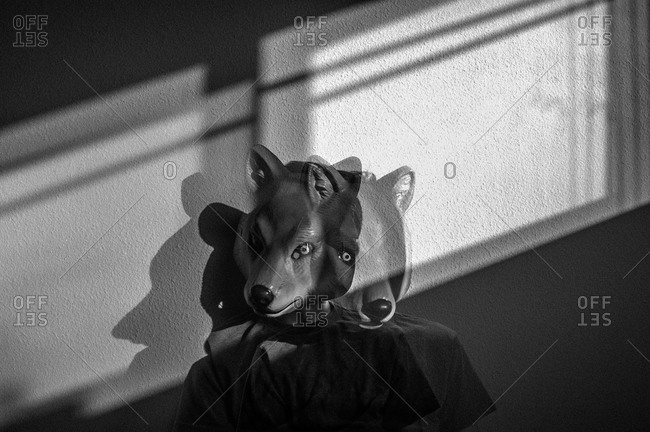 Adolescent boy in a plastic wolf mask