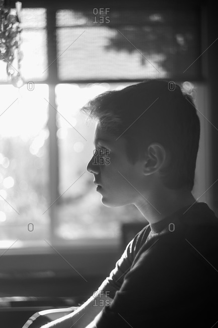 Profile of a serious adolescent boy