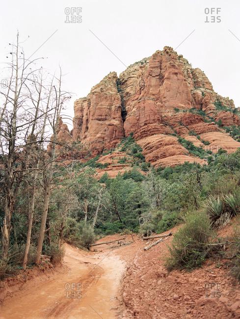 Stream bed trail through desert landscape