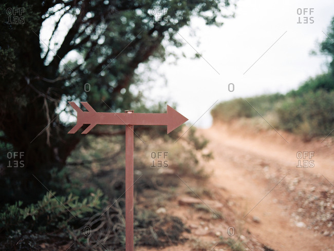 Arrow sign pointing to trail in desert park