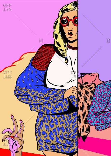 Illustration of a fashionable women
