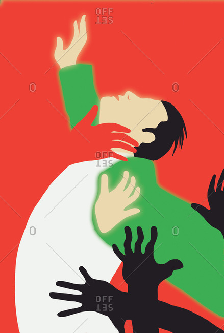 Man reaching up with hands surrounding on a red background