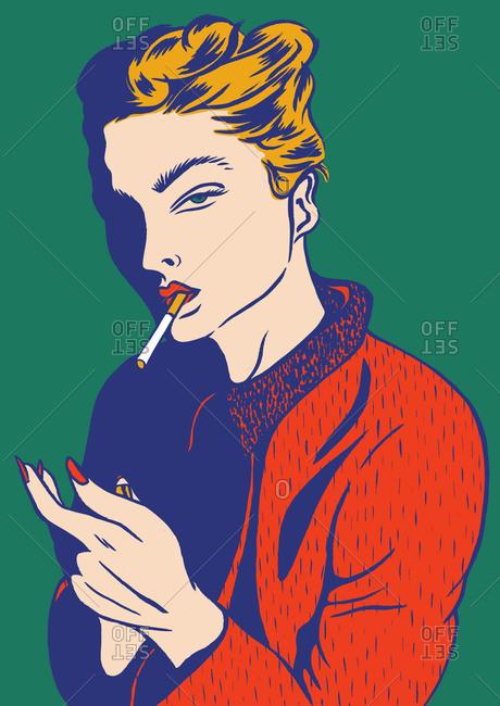 Woman lighting her cigarette