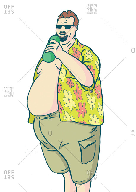 Man with sunglasses drinking