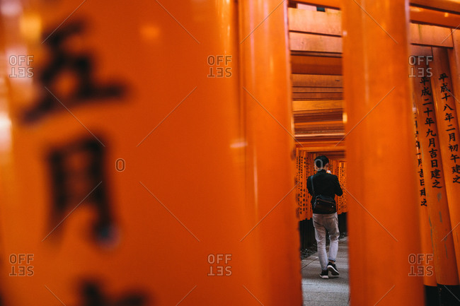 Man walking through orange lacquered Torii gates in Japan