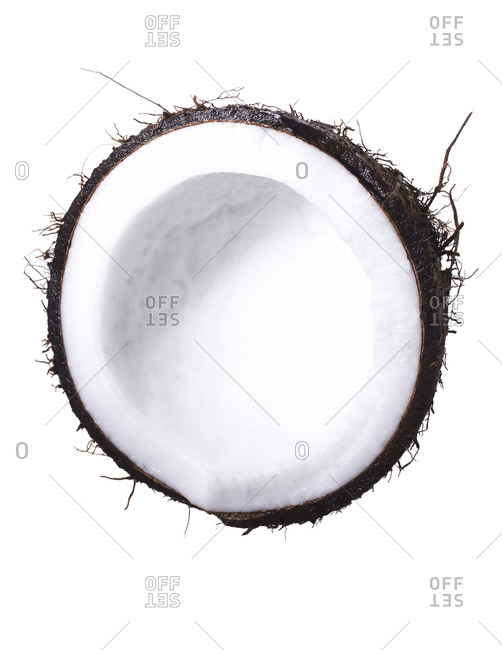 Coconut half on a white seamless background