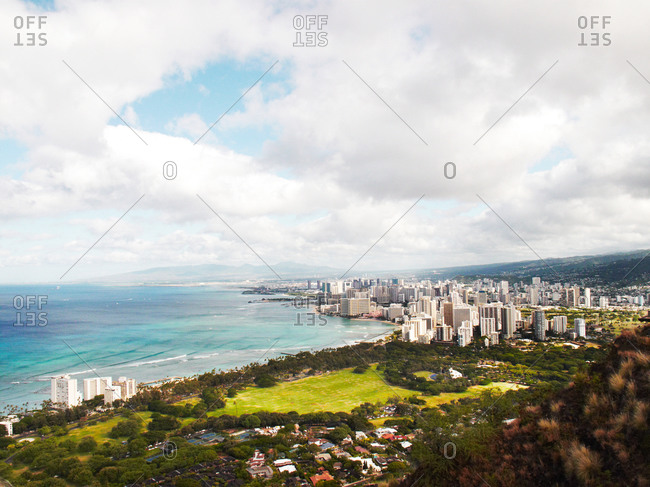 High rise buildings along the coast in Hawaii