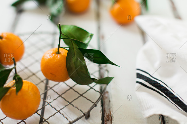 Close up of Satsuma oranges on a table
