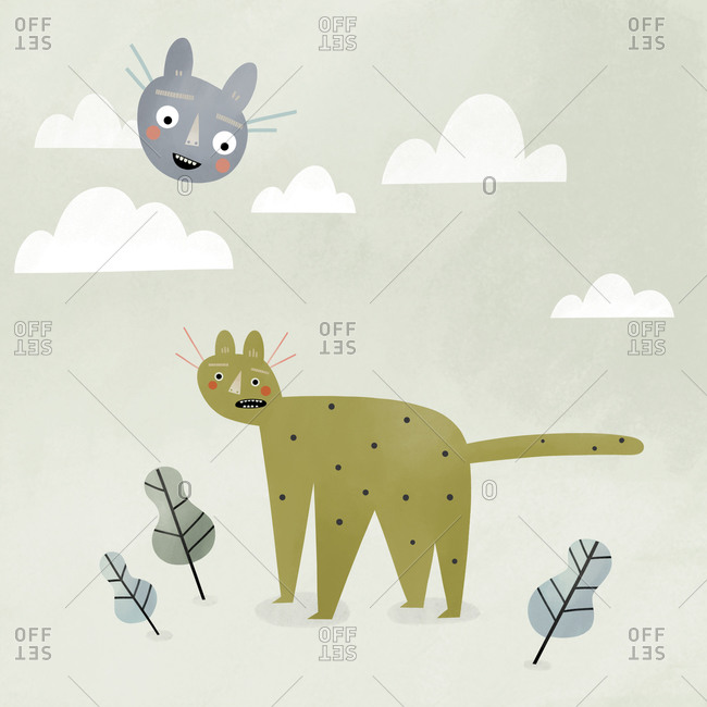 Cat head up in the sky above another cat