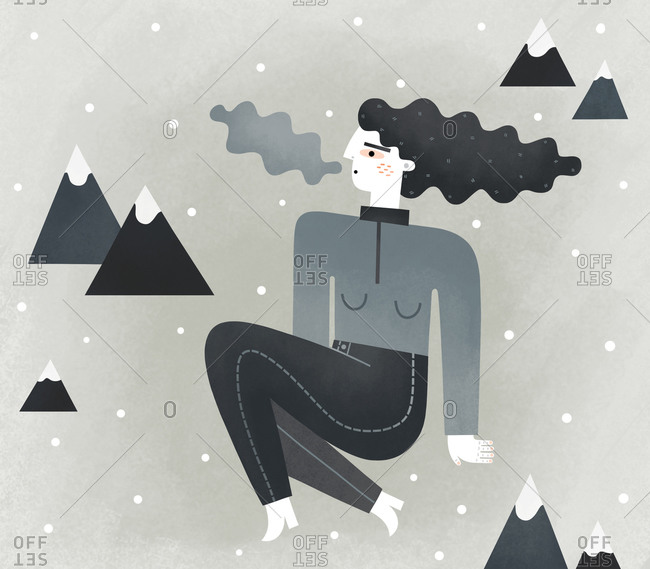 Woman in a cold mountain setting
