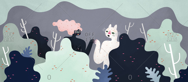 Woman in the forest with her cat friend