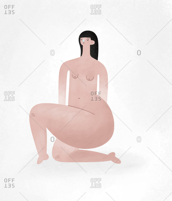 Nude woman kneeling