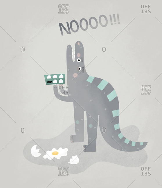 Dinosaur drops an egg