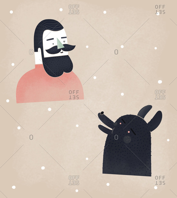 Man with beard talking to a wolf