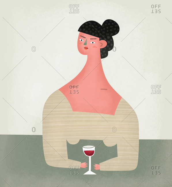 Woman drinking glass of red wine