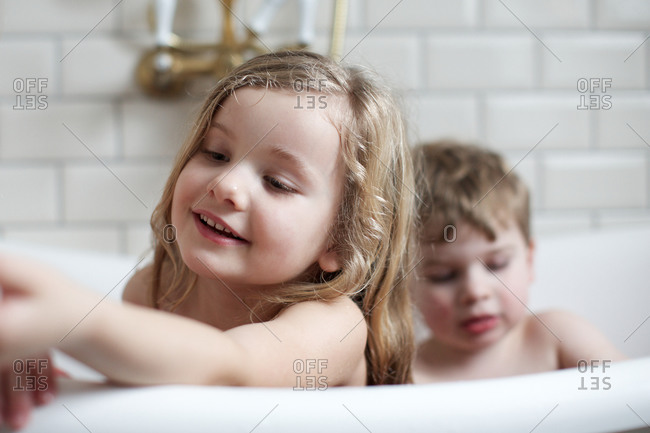 Two children in bathtub