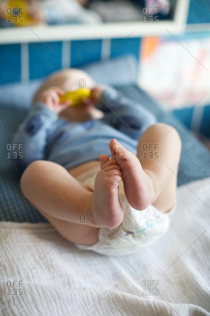 Baby boy in a diaper