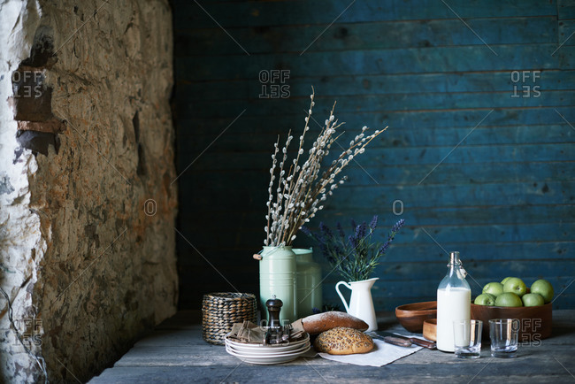 Various foods in rustic setting
