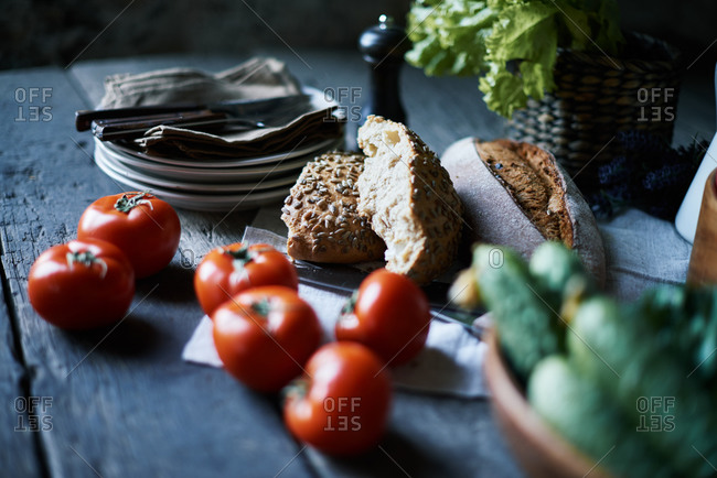Bread and vegetables on a table