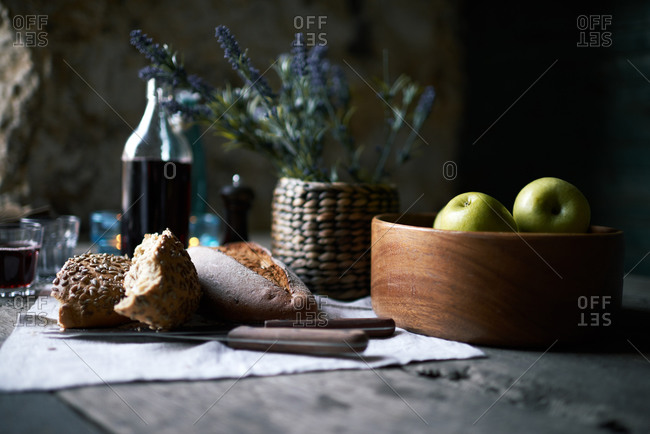 Bread and various foods