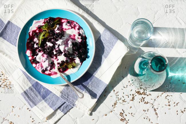 Berries in yogurt bowl