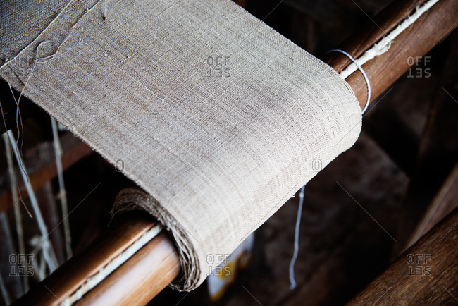 Detail of linen cloth on loom