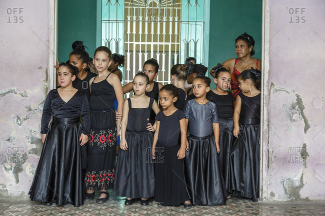 Cienfuegos, Cuba - January 26, 2016: Girls dancing class at Casa de la Cultura Benjamin, formerly Palacio de Ferrer, at Parque Jose Marti, Cienfuegos, Cuba