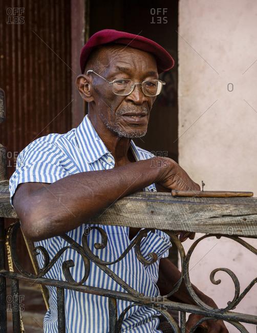 Santiago de Cuba, Cuba - February 3, 2016: Portrait of an elderly man, Santiago de Cuba, Cuba