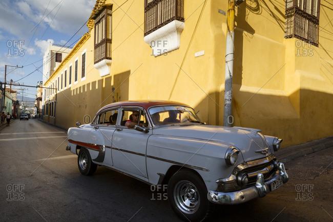 Santiago de Cuba, Cuba - February 3, 2016: Old American vintage car at the Tivoli neighborhood, Santiago de Cuba, Cuba