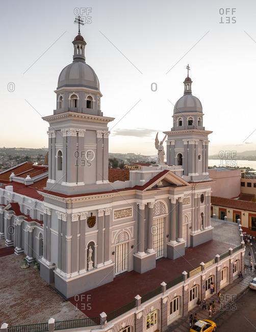 Nuestra Senora de la Asuncion cathedral at Parque Cespedes, Santiago de Cuba, Cuba