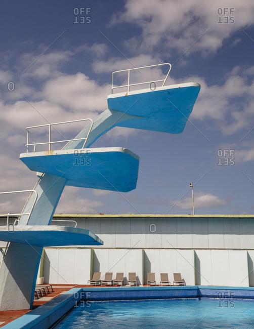 Old pool springboard at hotel Riviera, Havana, Cuba