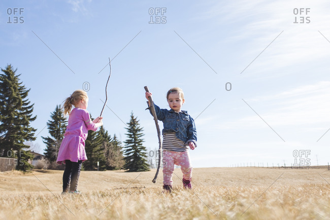 Two sisters playing with sticks in a grassy field