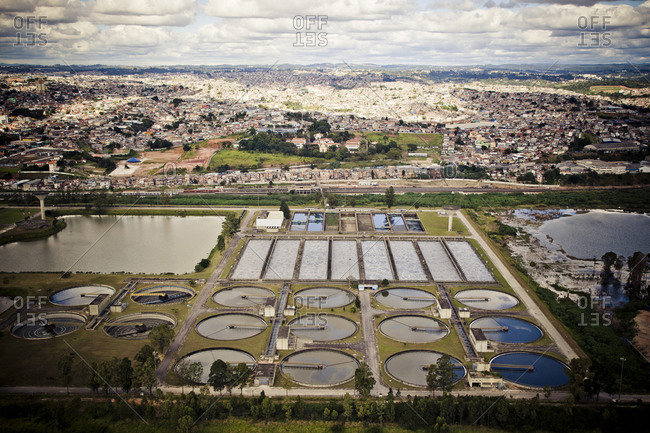 Aerial view of fish farm and buildings in South America